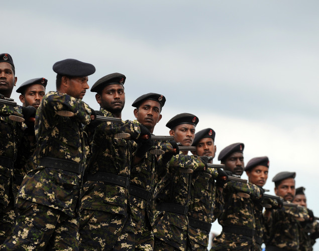 Sri Lankan Air Force personnel march during a rehearsal in Colombo.
