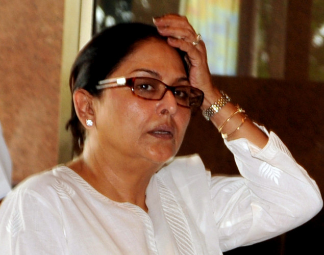 Indian Bollywood actress Anju Mahendru attends a prayer function in memory of late actor Rajesh Khanna in Mumbai.