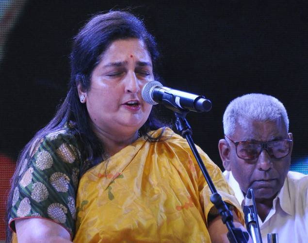 Anuradha Paudwal performs during the commemoration by the Sri Sathy Sai Seva Organization Maharashtra and Goa of the first Maha Samadhi anniversary of Bhagawan Sri Sathya Sai Baba in Mumbai.