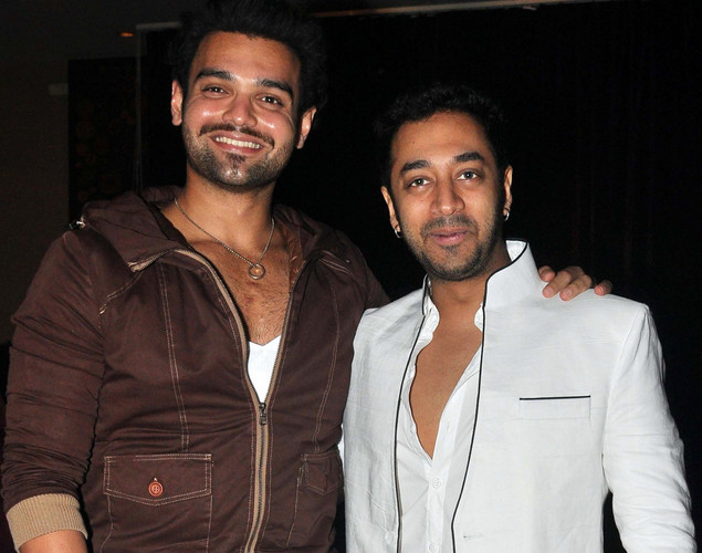 Mahaakshay Chakraborty (L) and Hiten Patel pose for a photo during the launch of upcoming Hindi film Tukkaa Fitt directed by Shawn Arranha in Mumbai.