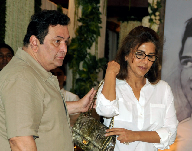 Indian Bollywood actor Rishi Kapoor with wife Neetu Singh attend a prayer function in memory of late actor Rajesh Khanna in Mumbai.