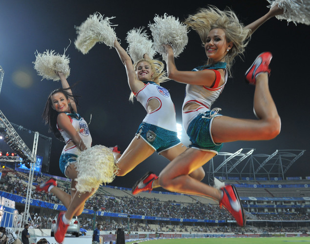 Cheerleaders perform prior to the start of the IPL Twenty20 cricket match between Deccan Chargers and Kings XI Punjab at the Rajiv Gandhi International Stadium.