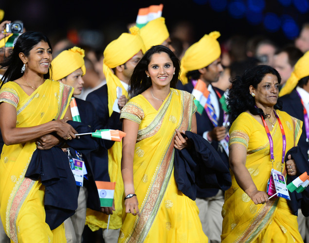 Members of India's delegation parade in the opening ceremony of the London 2012 Olympic Games in the Olympic Stadium in London on July 27, 2012.
