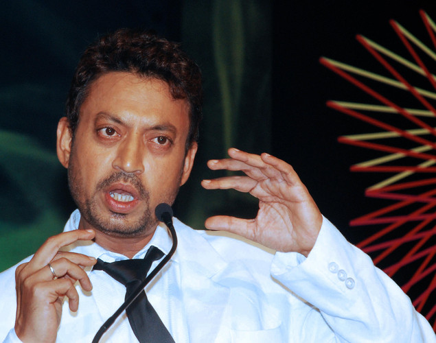 Irrfan Khan speaks at a launch party for the Bollywood film 'Acid Factory' in Mumbai