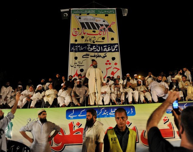 Leaders of the Defense of Pakistan coalition address the gathering during a protest rally in Islamabad against the reopening of NATO supply to Afghanistan.