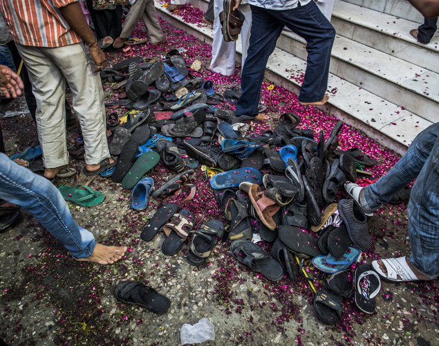 Sandals and petals are seen strewn over the ground in front of the 'durgah' or shrine, where Muhammad Moin-ud-din Chisti is buried, during the annual 'Urs' procession.