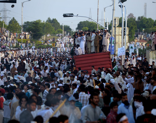 Pakistani demonstrators gather near the US consulate during a protest in Islamabad.