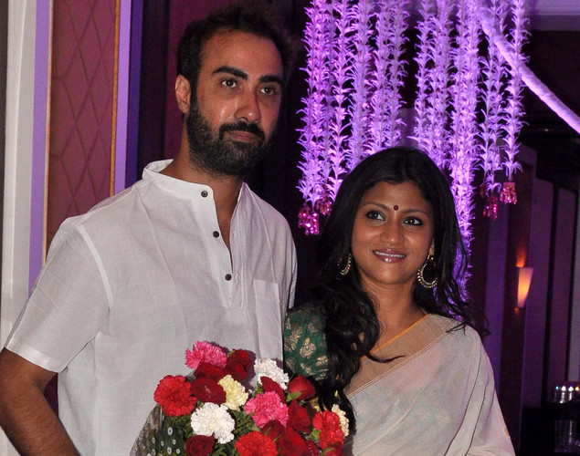 Bollywood actress Konkona Sen Sharma and husband Ranvir Shorey attend the wedding reception of playback singer Sunidhi Chauhan and musician Hitesh Sonik.
