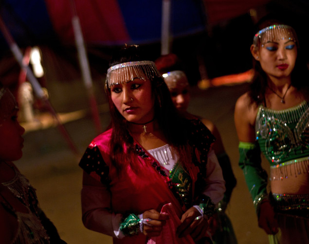 Performers wait backstage prior to their show at the Jumbo Circus in Gurgaon.