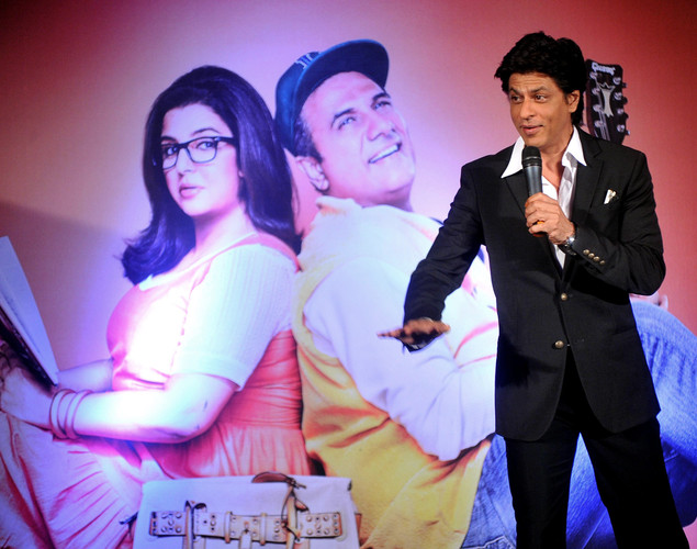Bollywood film actor Shahrukh Khan poses during the third teaser poster and music launch of the forthcoming Hindi film 'Shirin Farhad Ki Toh Nikal Padi' directed by Bela Bhansali Sehgal in Mumbai.