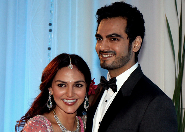 Indian Bollywood film actress Esha Deol poses with husband Bharat Takhtani