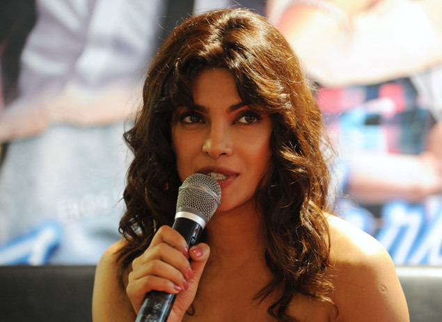 Priyanka Chopra speaks to the media about the film 'Teri Meri Kahaani', in Ahmedabad