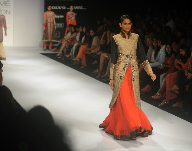 A model showcases a creation by designer Nandita Thirani on the first day of Lakme Fashion Week (LFW) Winter/Festive 2012 in Mumbai on August 3, 2012.