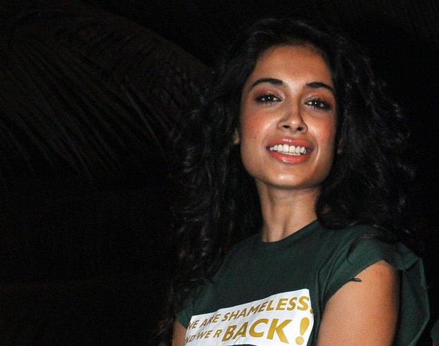 Sarah Jane Dias poses during a promotional event for the forthcoming Hindi film Kyaa Super Kool Hai Hum directed by Sachin Yardi in Mumbai.
