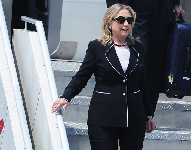 US Secretary of State Hillary Clinton arrives at the Netaji Subhash Chandra Bose International Airport in Kolkata.