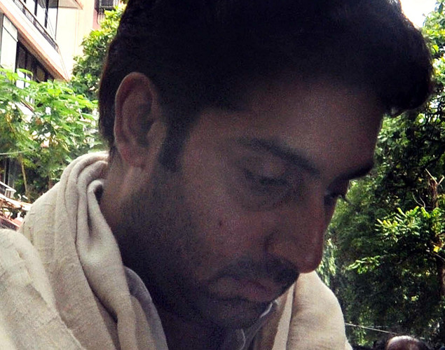 Bollywood actor Abhishek Bachchan attends the cremation ceremony of late Indian actor Dara Singh in Mumbai.
