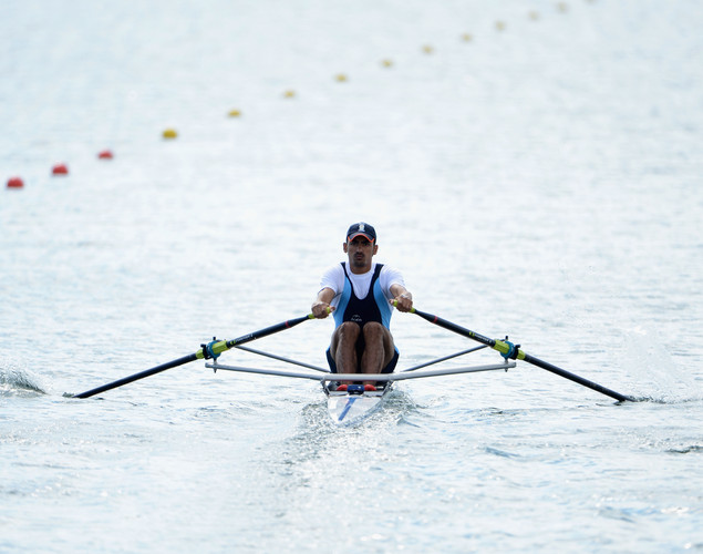 Sawarn Singh of India competes in the Men's Single Sculls repechage on Day 2 of the London 2012 Olympic Games at Eton Dorney on July 29, 2012 in Windsor, England.