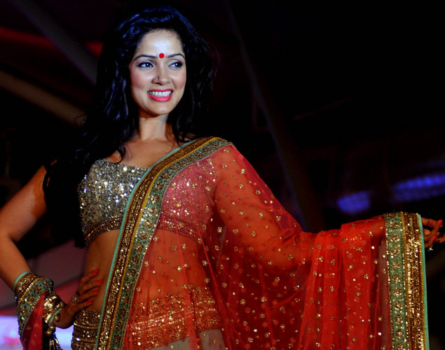 Bollywood film actress Vidya Malwde walks the ramp during the seventh annual Pidilite-CPAA Charity Fashion Show showcasing designers Manish Malhotra and Shaina NC in support of the Cancer Patients Aid Association.