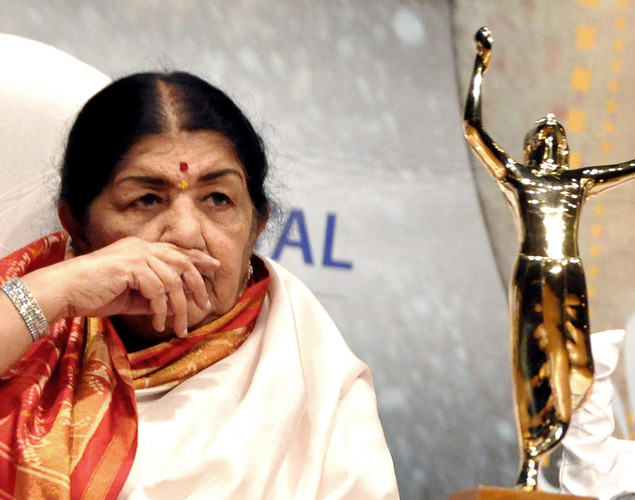 Legendary playback singer Lata Mangeshkar attends the 'Deenanath Mangeshkar Puraskar Awards 2012' ceremony in Mumbai.