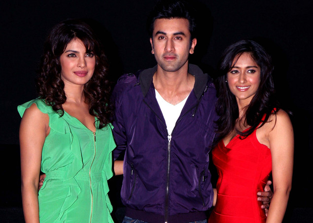 Ileana D'Cruz (R),  Ranbir Kapoor (C), and Priyanka Chopra arrive for the launch of the upcoming Hindi film, Barfi, in Mumbai