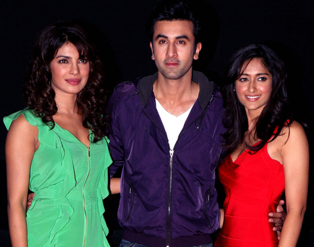 Bollywood actors  Ileana D'Cruz (R),  Ranbir Kapoor (C), and Priyanka Chopra arrive for the launch of the upcoming Hindi film, Barfi.