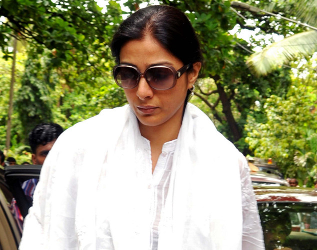 Bollywood actress Tabbu attends the cremation ceremony of late Indian actor Dara Singh in Mumbai.