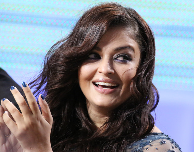 Indian actress Aishwarya Rai takes part in the TV show 'Le Grand Journal' on the set of French TV Canal+ during the 65th Cannes film festival.