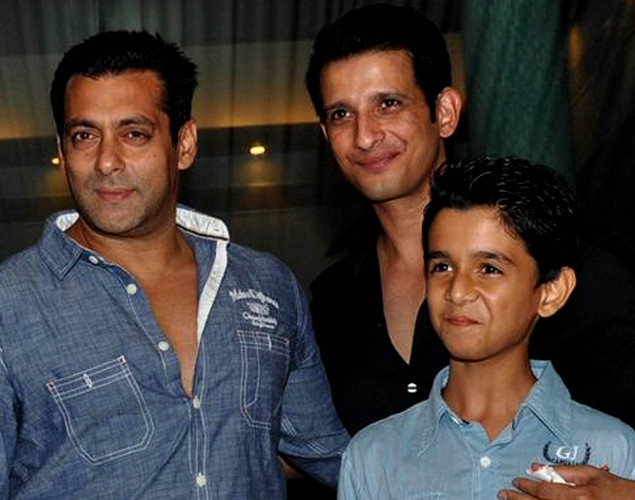 "Bollywood actors (L-R) Salman Khan, Sharman Joshi, and Ritvik Sahore attend a party for the Hindi film ""Ferrari Ki Sawaari"" in Mumbai."