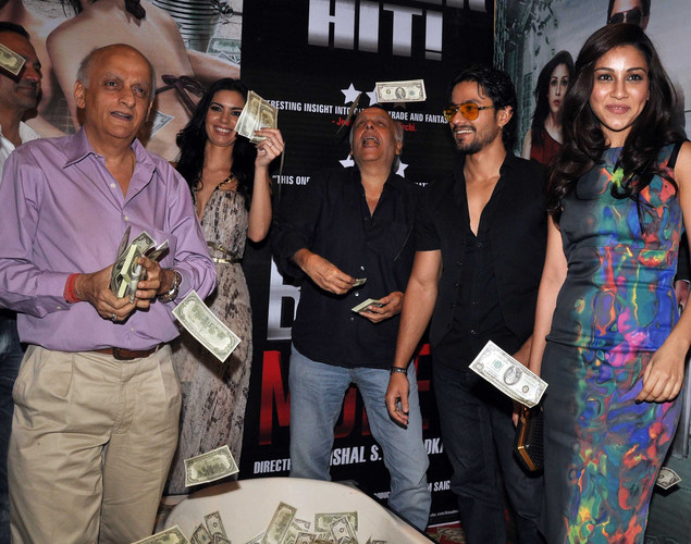 Film director Mukesh Bhatt, film actress Mia Uyeda, film director Mahesh Bhatt and film actors Kunal Khemu and Amrita Puri attend the success party for the cast of Hindi film 'Blood Money' in Mumbai.