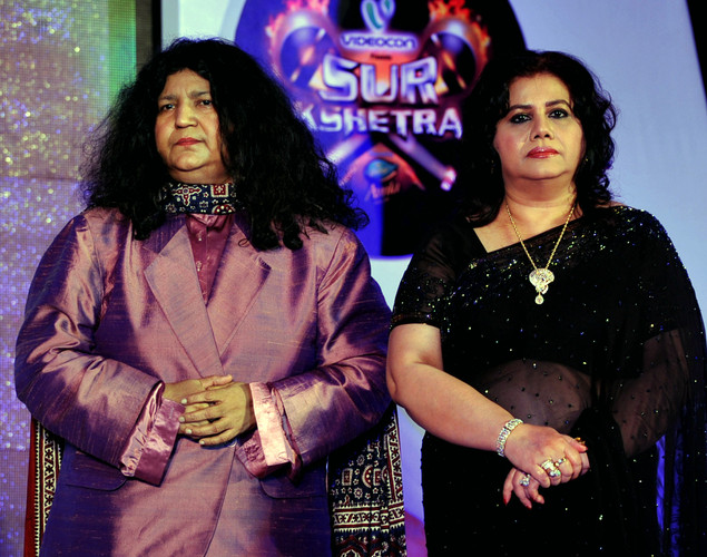 Pakistani Sufi Singer Abida Parveen (R) and Bangladeshi Singer Runa Laila look on during a media event for the television musical show 'Sur-Kshetra' In Mumbai.