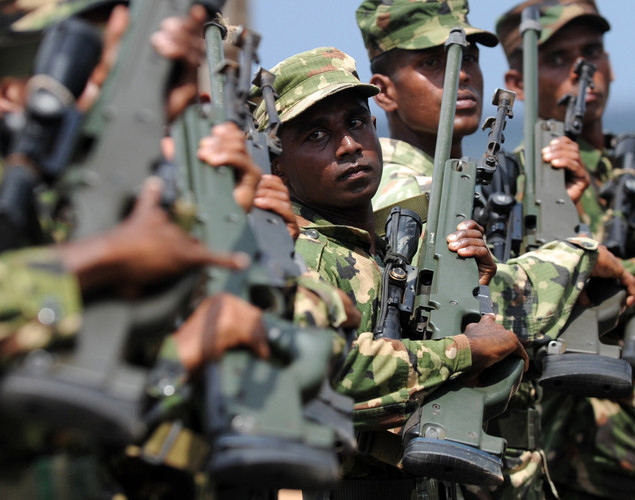 Sri Lankan soldiers march during a rehearsal in Colombo.