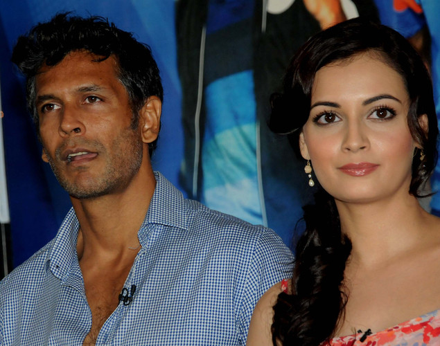 Bollywood film actors Milind Soman and Dia Mirza pose during the launch of the 'Marks For Sports' campaign created by the Fit India Movement in Mumbai.