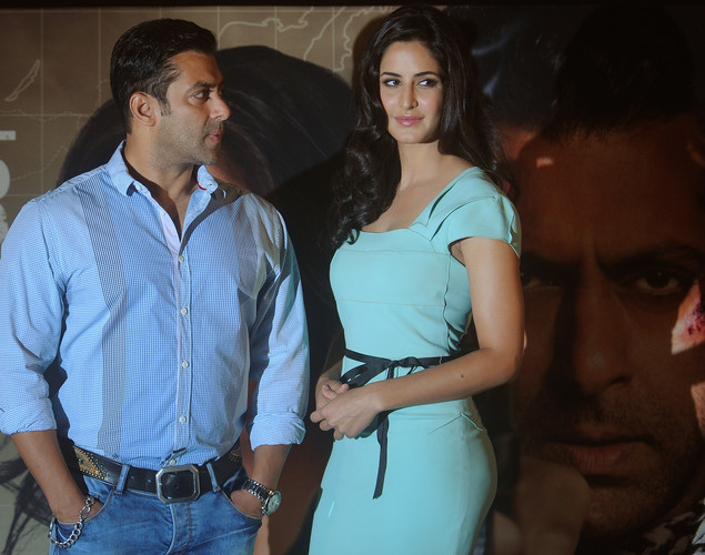 Bollywood actor Salman Khan (L) and actress Katrina Kaif attend a promotional event for their upcoming film Ek Tha Tiger in Mumbai.