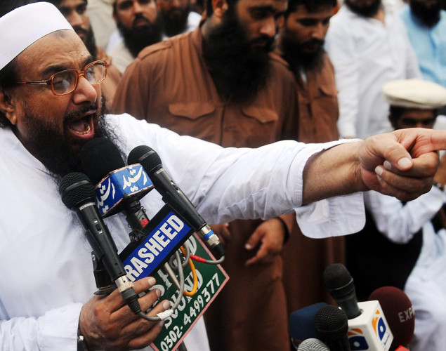Hafiz Mohammad Saeed, head of Pakistan's outlawed Islamic hard line group Jamaat ud Dawa (JD), addresses supporters during a rally against an anti-Islam movie in Lahore.