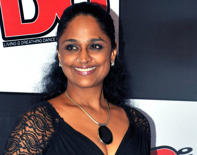 Indian performer Suneeta Rao poses during the DJ Mag launch event in Mumbai.