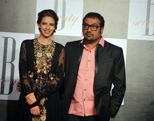 Indian Bollywood actress Kalki Koechlin (L) poses with her husband director Anurag Kashyap as they attend the 70th Birthday celebrations of Bollywood Actor Amitabh Bachchan in Mumbai.