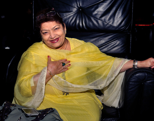 Indian Bollywood dance choreographer Saroj Khan attends the '12.12.12' birthday celebration of dancer and actress Sambhavna Seth in Mumbai.