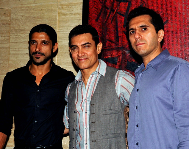 Bollywood personalities Farhan Akhtar, Aamir Khan and Ritesh Sidhwani pose during a party event for the Hindi film 'Talaash' in Mumbai.