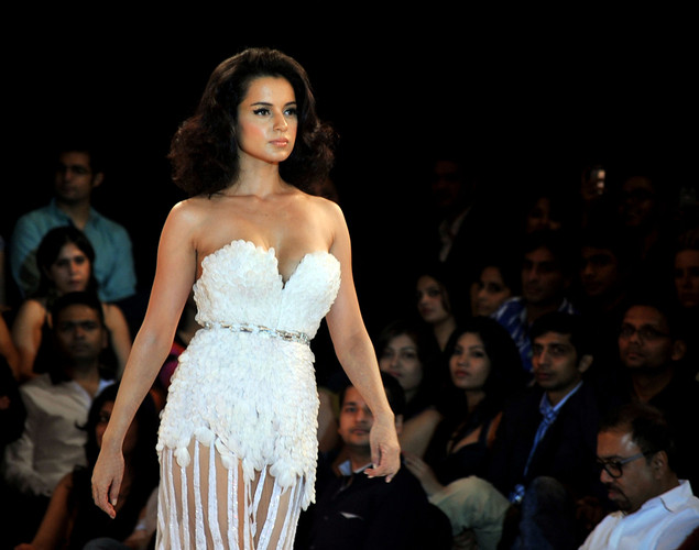 Bollywood actress Kangana Ranaut walks the ramp at the 8th edition of Seagram's Blenders Pride Fashion Tour 2012 in Mumbai.