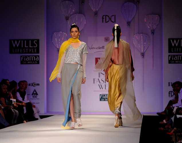 Models present creations by Indian designer Wendell Rodricks during the Wills India Fashion Week Spring- Summer collection 2013 in New Delhi.