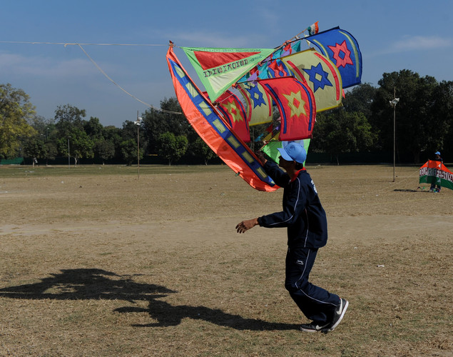 An Indian youth holds a kite during the Delhi International Kite Festival 2012 on the lawns of the India Gate monument in New Delhi.