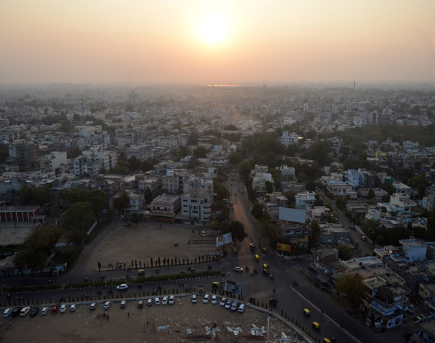 A general view of Ahmedabad during sunset.