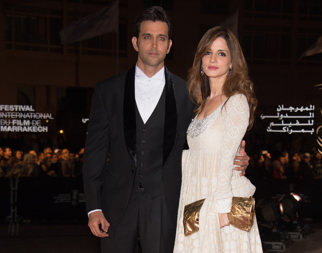 Indian actor Hrithik Roshan and Indian actress Tabu arrive for the tribute to Hindi cinema at the 12th Marrakech International Film Festival.