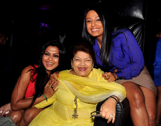 Indian Bollywood actress Rinku Ghosh, (L), dance choreographer Saroj Khan (C) and actress Kashmira Shah attend the '12.12.12' birthday celebration of dancer and actress Sambhavna Seth in Mumbai.