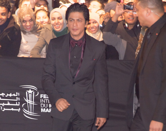 Indian actor Shahrukh Khan arrives for the tribute to Hindi cinema at the 12th Marrakech International Film Festival.