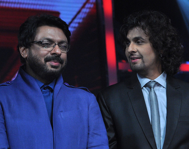 Indian Bollywood film director Sanjay Leela Bhansali (L) and singer Sonu Nigam, two of the three judges for the The X Factor