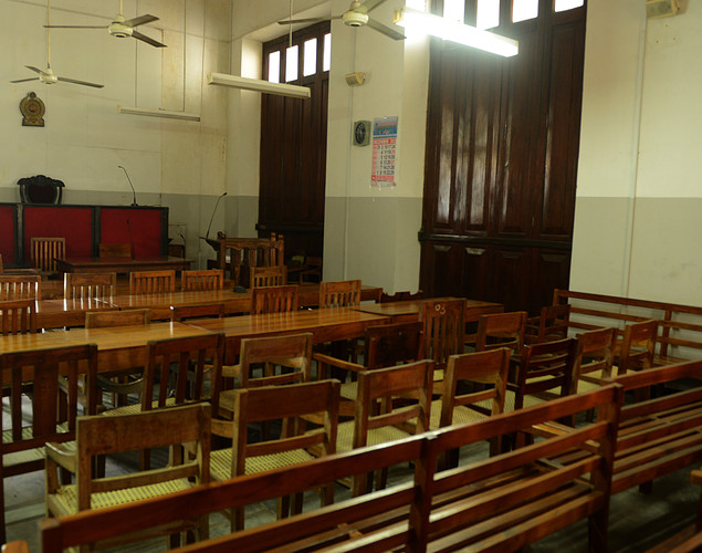 A High Court room is empty as Sri Lankan lawyers stayed away from work during a protest in Colombo.