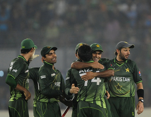 Pakistan's cricketers celebrate after winning the one day international (ODI) Asia Cup cricket final match between Bangladesh and Pakistan at the Sher-e-Bangla National Cricket Stadium earlier this year.