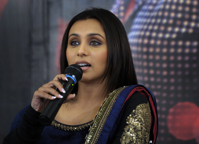 "Indian Bollywood actress Rani Mukerji speaks as she attends the presentation of the movie ""No One Killed Jessica"" in Kolkata."