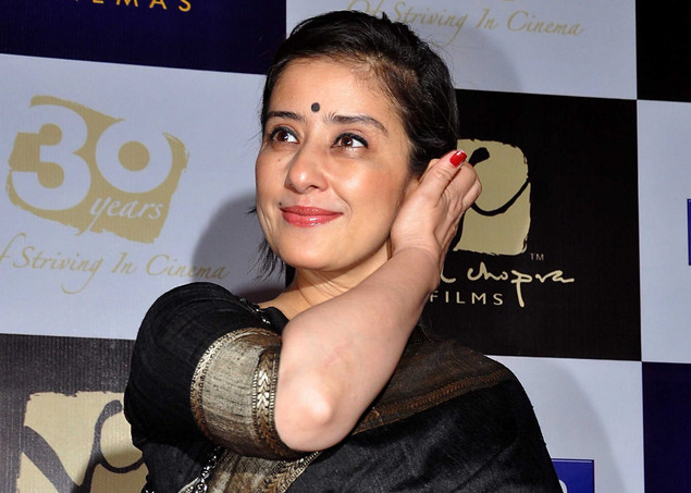 Manisha Koirala poses as she attends the Bollywood producer-director Vidhu Vinod Chopra's films celebratation 30 years of Striving in Cinema film festival premiere.